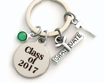 Class of 2017 KeyChain, or 2018 2019 2020 2016 Grad Key Chain, Gift for Graduate Graduation Scroll Birthstone Initial High School College