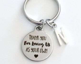 Gift for Step Dad, Thank you for loving us as your own KeyChain Guardian Keyring Foster Parent Key chain Initial letter present love me