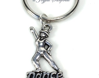 Tap Dancer's Key chain, Step Dance Keyring, Jazz Dance Keychain, Silver Gift for Ballroom dance Teacher Gift, Pewter Step Dancer's Keyring