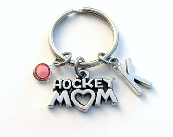Personalized Hockey Mom Keychain, Mother KeyRing, Silver Key Chain Gift for Team Color Initial Birthstone women her player day present mum