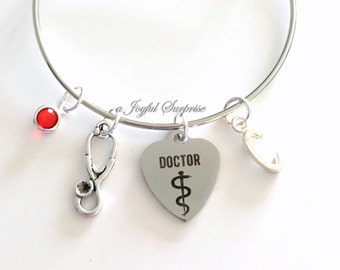 Doctor Bracelet, Gift for Doctor Gift, Medical Doctor, Stethoscope Jewelry Silver Charm Bangle Graduation PH. D DR initial birthstone custom