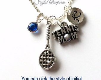 Tennis Mom Necklace, Tennis Player's Mom Gift Jewelry Tennis Mother Charm Personalized Initial Birthstone birthday present Christmas Gift