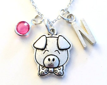 Pig Necklace, Piglet Gift, Piggy Jewelry Animal Silver charm Initial Birthstone present Short Long Chain Sterling Girl Woman Little Boy