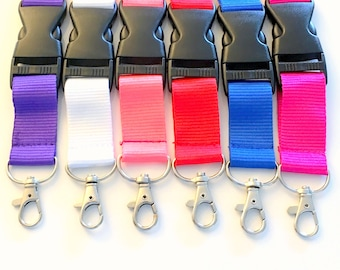 Lanyard for Key chain, Silver Plated Lobster Swivel Clasps For Key Ring - Keychain Fob, Quick Release Wristlet, Badge holder red blue pink