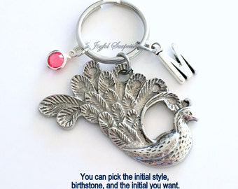Peacock KeyChain Bird Keyring Animal Key chain Silver Feather Jewelry charm Personalized Initial Birthstone birthday present Christmas Gift