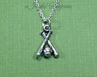 Baseball Bat Necklace, Silver Boy or Girls Jewelry, Softball Charm, Base Ball and Bat, Gift for Baseball Player teammate coach present him