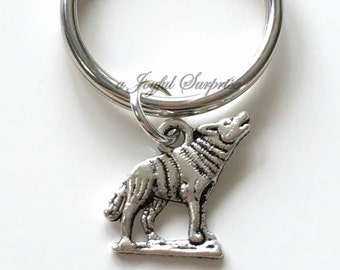 Wolf Key Chain Silver Wolves Keyring Coyote Keychain Dog Animal Gift birthday present Christmas letter initial Purse charm planner charm