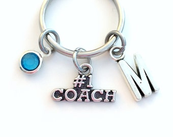 Coach KeyChain, 1 Coaching Keyring Sport Key chain Silver Teacher Jewelry Athlete Personalized Initial Birthstone birthday present Christmas