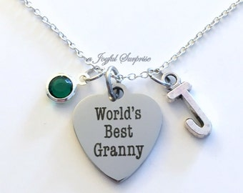 World's Best Granny Necklace, Granny Jewelry, Grandmother Gift for Granny charm Initial Birthstone present stainless steel engraved custom