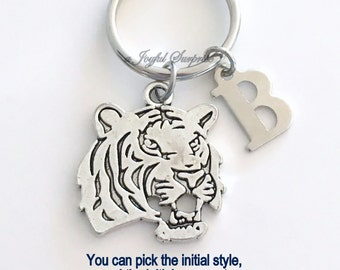 Tiger KeyChain Cat Keyring Animal Key chain Cougar Jewelry charm Personalized Initial Birthstone birthday present Christmas Gift Tiger Head