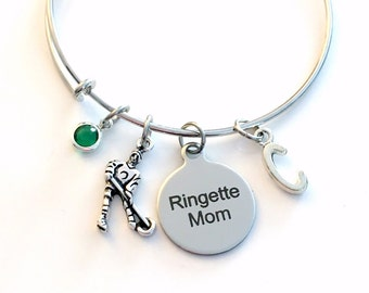 Ringette Mom Jewelry, Gift for Mom Charm Bracelet, Silver Bangle birthstone initial letter Birthday Present Player Team Daughter Girl Etsy