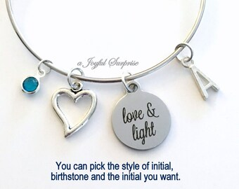Love and Light Bracelet Love & Light Gift Love Jewelry Silver Charm Bangle Heart quote inspirational initial birthstone custom personalized