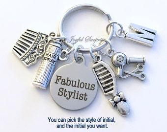 Fabulous Stylist Keychain, Hairdresser's Key Chain Stylist Keyring Gift for Hair Salon Birthday Present Hairspray Hairdryer Comb Christmas