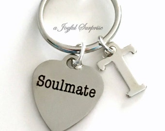 Soulmate Keychain, Anniversary Gift, Soul Mate Key Chain, Gift for Newly Wed Wedding Gift for Husband Wife Keyring with Initial Personalized