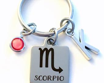 Scorpio KeyChain, Zodiac Sign Key Chain, Gift for Birthday Present Keyring Birthstone Initial Personalized Custom Letter October November
