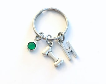 Dog Bone Keychain, Puppy Keyring Animal Key chain Silver Jewelry charm Personalized Initial Birthstone birthday present Doggie Him Gift Her