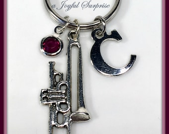 Trombone Keychain, Band Instrument, Gift for Trombone Player Charm Keyring, Silver Key Chain Jazz Musician Musical Music Instrument Custom