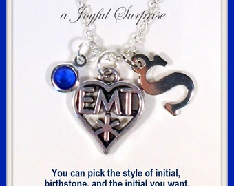 EMT Jewelry, Gift for EMT Necklace, Ambulance Drivers, EMT Gift, Paramedic Silver Charm Necklace Initial birthstone Christmas Present 99