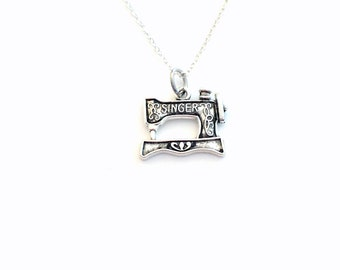 Sewing machine Jewelry / Seamstress Necklace / Gift for Home Economic Teacher / Silver Sew Charm / Long or Short Sterling Silver Chain