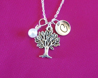Tree of Life Necklace,  Charm Necklace, Family Tree Necklace, Tree of Life Mother Jewelry, Gifts with initial and birthstone - N1022 i6