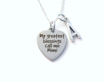 My greatest blessings call me Mimi, Gift for Grandmother Necklace, Jewelry Mother's Day Present, from grandkids kids quote Canadian Seller