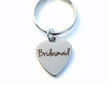 Bridesmaid Keychain, Brides maid Key Chain, Gift for Wedding Party, Bridesmaid Keyring, Bridal Attendant, Purse Charm, Luggage Tag Planner