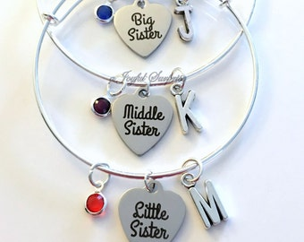 Baby, Middle, Little & Big Sister Set of 2 3 or 4 Jewelry Charm Bracelet Bangle Silver initial Birthstone Birthday Gift Christmas Present