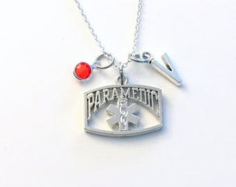 Paramedic Necklace, EMT Jewelry, Silver Charm, Ambulance Driver Gift, EMS star of life, Gift for Women or Men