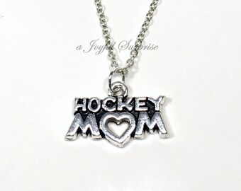 Ice Hockey Mom Necklace / Hockey Mom's Jewelry / Gifts for Hockey Present / Silver Hockey Mom Charm / Mother's Day Present / Goalie player