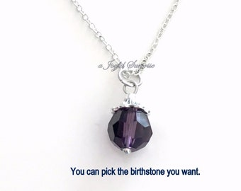 February Necklace, Amethyst Jewelry, Birthstone Birthday Present Dark Purple Stone Gem Gift Crystal Christmas Bridesmaid Bridal Party Quartz