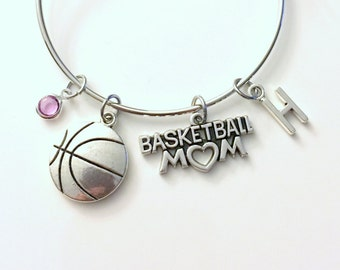 Basketball Mom Bracelet Basket Ball Jewelry Charm Bangle Team Silver initial Gift for Mother Athlete Parent birthstone Personalized Custom