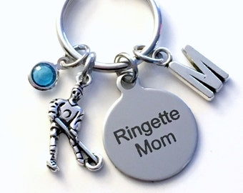 Gift for Ringette Mom Keychain, Mother's Day Key chain, Silver Keyring, Letter Birthstone Initial Custom Present Personalized Women Birthday