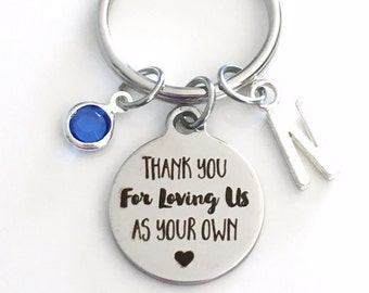 Gift for Foster Mom, Thank you for loving us as your own KeyChain Guardian Keyring Step Parent Key chain Initial Birthstone present love me