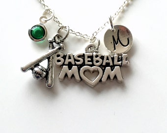 Baseball Mom Necklace, Base Ball Mom Jewelry Gift Mother Day Present Charm Personalized Initial Birthstone birthday gift Christmas present