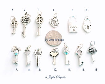 Key Charm, Your choice of Key Charm, Skeleton Key Charm, Heart Key, Owl Key, Pig Key, Pad Lock and Key, Padlock with Key - 1 Silver Pendant