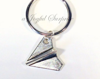Paper Airplane Keychain, Plane Key Chain, Origami Keyring, Gift for Boyfriend Boy BFF, Purse charm, Luggage tag Long Distance Men Girl Teen