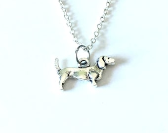 Silver Dachshund Necklace, Dachshund Jewelry Dog Gift Wiener Pendant Charm Puppy Gift for Breeder Long Short Chain Teenage Teen Girl Boy Pet
