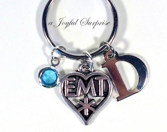 Personalized EMT KeyChain, Medical Key Chain, Ambulance Keyring, Birthday Gift, Paramedic Christmas Present birthstone EMS star of life