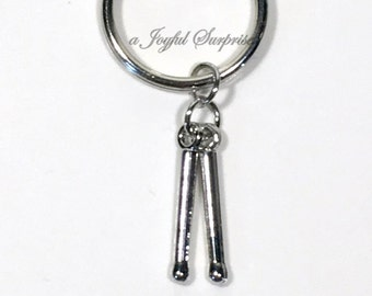 Drum Stick Key Chain Gift for Drummer's KeyChain DrumStick Keyring Band Musician Gift Silver Instructor Teacher Charm percussion Pewter him