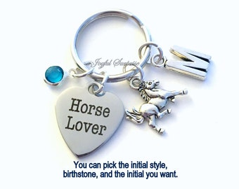 Horse Lover Key Chain Silver Breeder Keyring Animal Keychain Stallion Jewelry charm Stable custom Initial Birthstone birthday present Gift