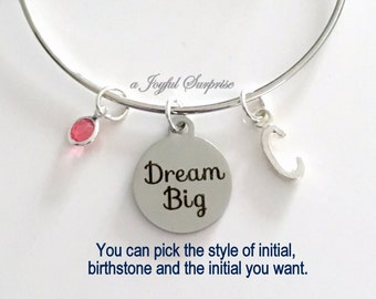 Dream Big Jewelry Daughter Charm Bracelet Gift for Graduation Silver Bangle Personalized Initial Birthstone birthday gift Christmas present