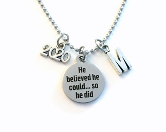 Graduation Necklace for Men, Teenage Boy, 2020 He believed he could so he did Jewelry, Teen Son Boyfriend Gift, bead ball stainless steel