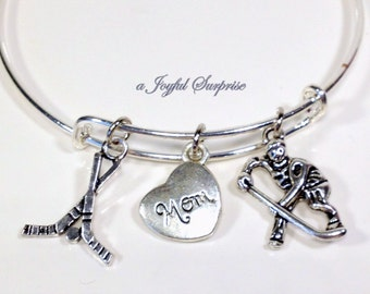 Hockey Mom Bangle Bracelet Hockey Jewelry Fan's Gift Grandma Aunt Uncle Dad Son Daughter Brother Sister Grandpa Gift Silver Birthday Present