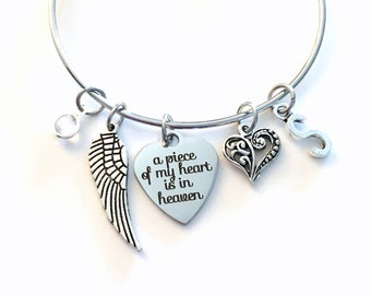Memorial Present / A Piece of My Heart is in Heaven Stainless Steel Bracelet / Loss of Mom, Dad, Daughter, Son Jewelry / Guardian Angel Wing