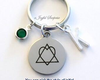 Adoption KeyChain, Adoption Symbol Keyring, New Parent Key chain, Jewelry Personalized Initial Birthstone birthday Gift Christmas Present