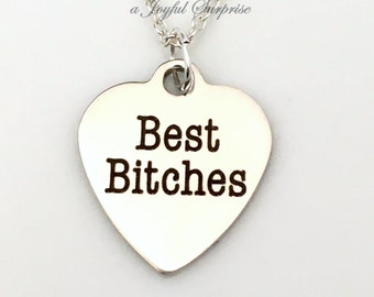 Gift for Best Friend Present, Best Bitches Necklace, Silver BFF Jewelry, Girlfriend Bitchs Charm, Simple Everyday 925 Long Short Chain Girl