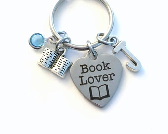 Book Lover KeyChain, Book Key Chain, Gift for Club Keyring Jewelry Initial Birthstone women Present Silver her Canadian Seller read reader