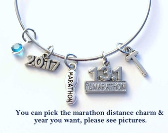 Gift for Marathon Runner 2018 Jewelry, 13.1 Half Charm Bracelet, Bangle initial Birthstone Present Women Running Sneaker 26.2 Full 5K 10K