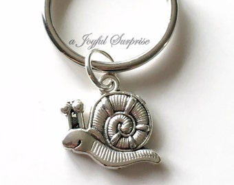 Snail Key Chain, Silver Escargot Charm Keyring, Bug Keychain, Animal Gift for Teen boy birthday present Christmas gift purse planner girl