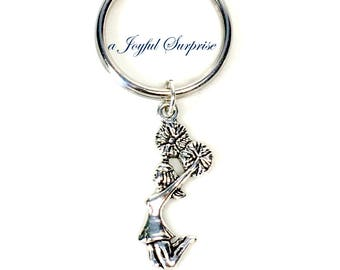 Cheerleader Keychain, Silver Cheerleading Key chain, Teenage Girl Boy Lanyard Gift for Cheer Mom Keyring purse charm planner charm pom her